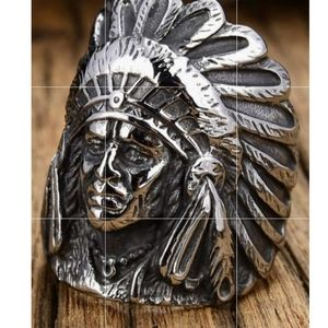Stainless Steel Indian Chief Ring Size 7-13 Availa
